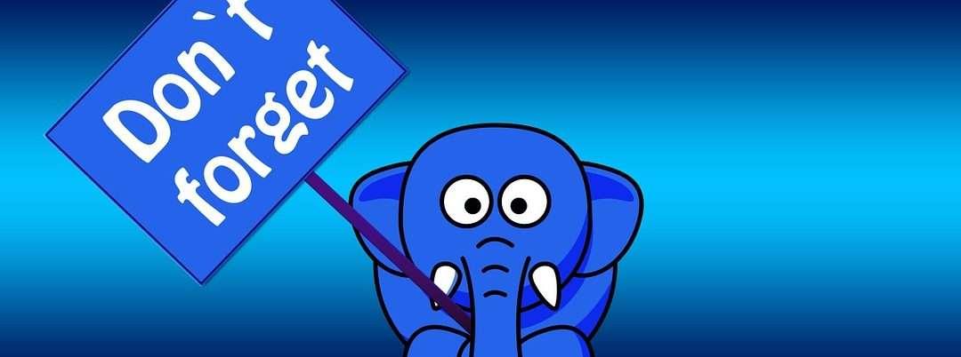 elefante con cartel dont forget perdidas memoria