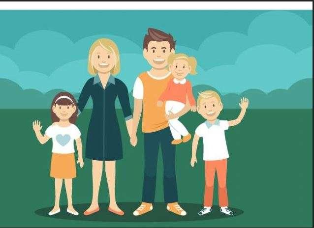 dibujo de una familia con tres hijos para hablar de título familia numerosa