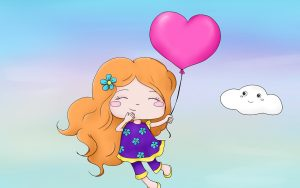 niña volando con un corazón amor cariño regalos en san valentin