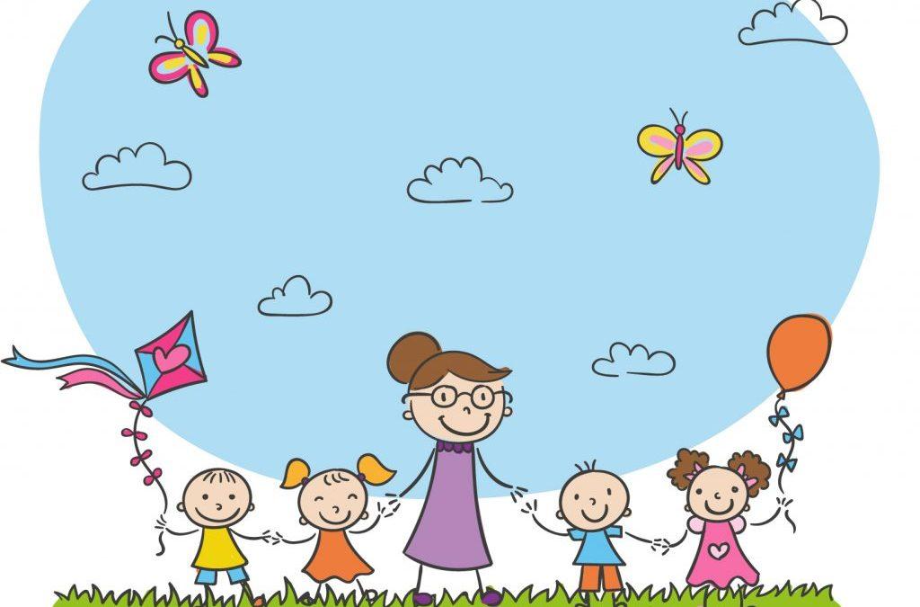 dibujo de mujer con varios niños para hablar de consejos elegir guardería
