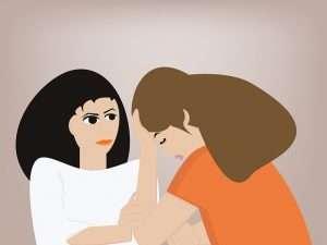 dibujo de mujer disgustando hablando con alguien vestido de blanco para hablar de psicólogos en los centros de salud de madrid