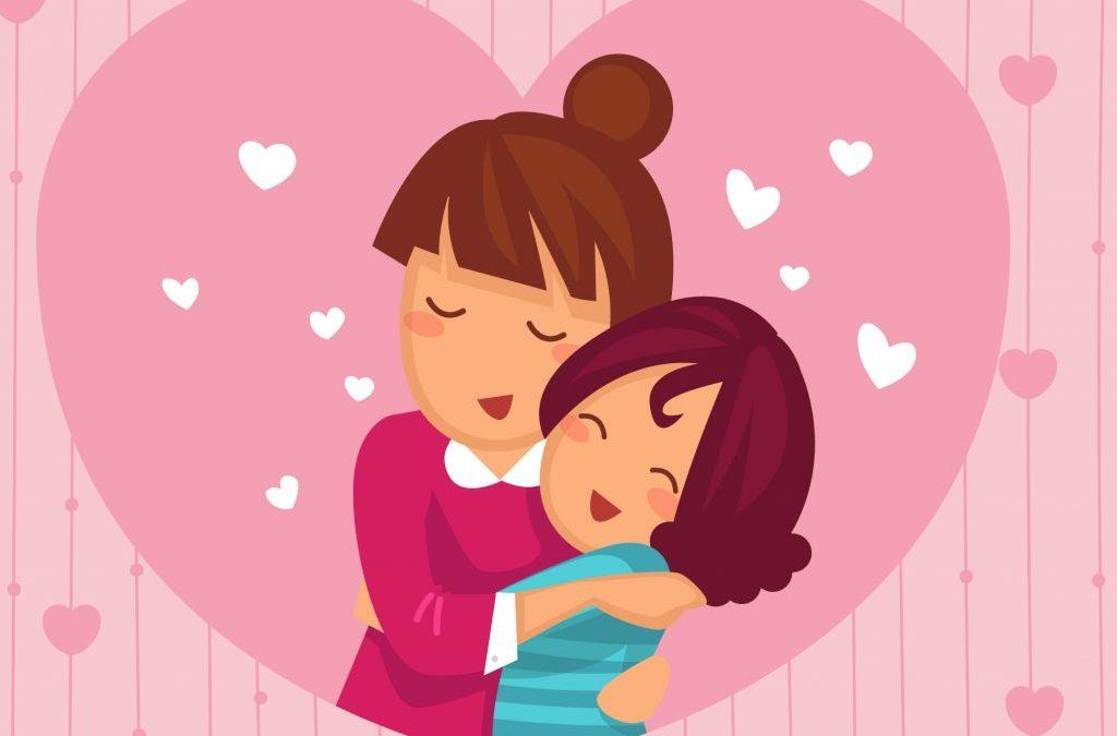 dibujo de madre abrazada a niña dentro de un corazón para hablar de ideas para regalar a mama