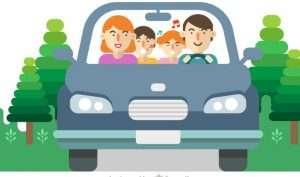 dibujo de familia viajando en coche para hablar de cómo elegir silla seguridad del coche