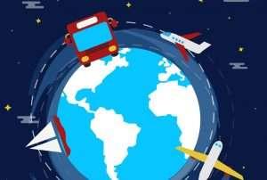 dibujo de bola del mundo con autobús, barco y avión para hablar de medio de transporte en el embarazo
