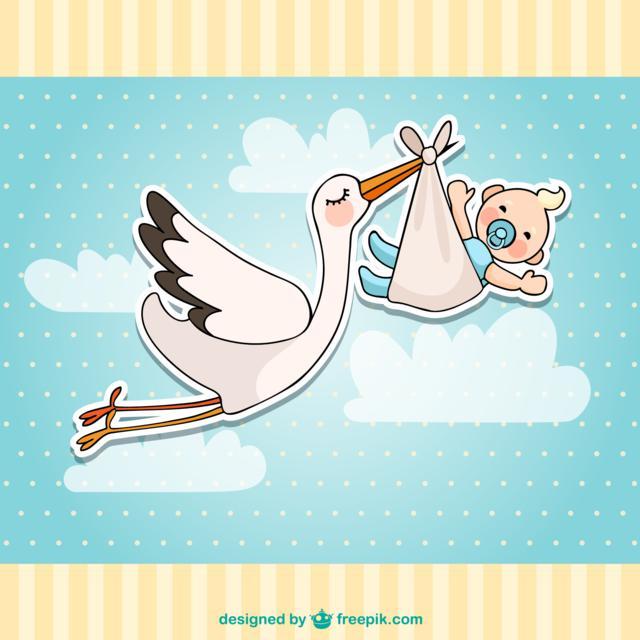 cigüeña con bebé recien nacido ayudas para padres en 2018