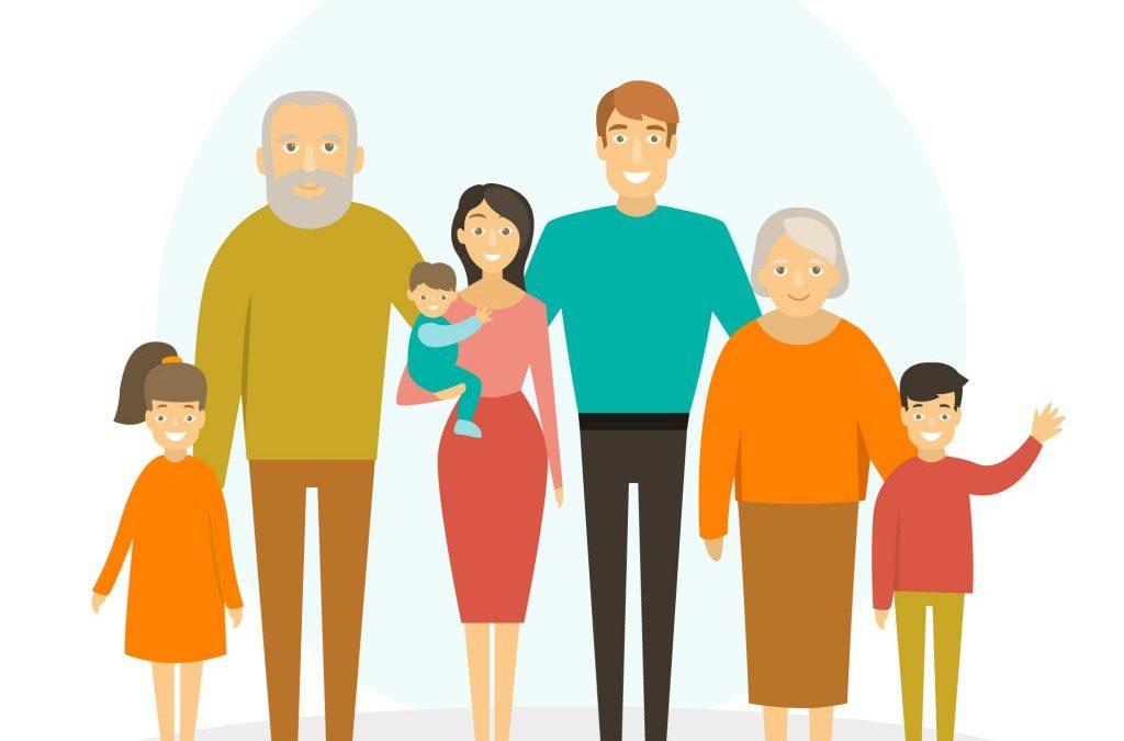 dibujo de una familia numerosa para hablar de mejoras para las familias presupuestos 2018
