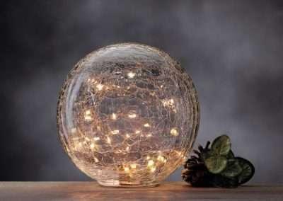 Figura de bola craquelada con luz Navidad